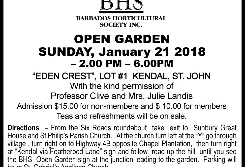 "Open Garden Programme 2018 – ""Edencrest"""