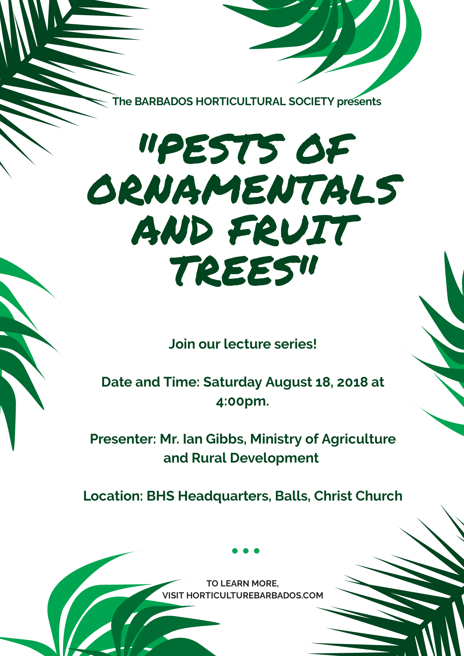 Pests of Ornamentals and Fruit Trees